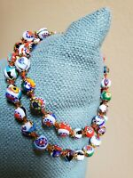 Vintage Italian Murano Millefiori Bead Necklace Hand-knotted Gorgeous Colors!