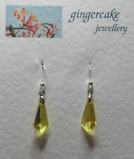 SMALL YELLOW ACRYLIC CRYSTAL SPEAR SHAPE DROP EARRINGS SILVER PLATED Hook