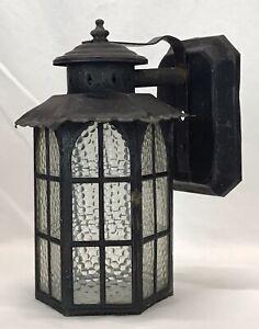 Vintage Painted Copper Arts & Crafts Gothic Tudor Porch Light Fixture Sconce