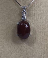 Natural oval Forma Colgante de Jade Rojo oscuro (sin cadena)