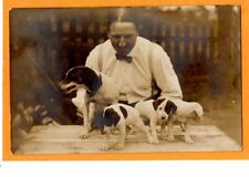 Real Photo Postcard Rppc - Man with Jack Russell Terrier Dog and Puppies