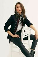 Free People Lucy Military Inspired Raw Hem Peplum Black Jacket Size S NWT $198