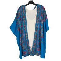 Umgee 1XL  Boho Hippie Prairie Embroidered Kimono Cardigan Aqua