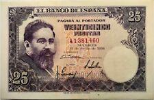 SPAIN - Isaac Albeniz - 25 Pesetas - 1954 - Pick 147 - CRISP ABOUT UNCIRCULATED!