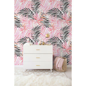Pink Palm Leaf Removable Girly Black Exotic Leaves Repositionable wall mural