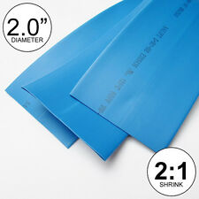"""(2 FEET) 2.0"""" Blue Heat Shrink Tubing 2:1 Ratio 2"""" inch/foot/ft/to 2FT 24"""" 50mm"""
