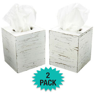 Rustic Torched Barnwood Tissue Box Cover: Tissue Cube Box (Pack of 2)