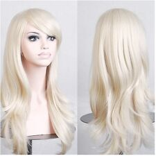 Long Layered Wavy Hair Wig with Bangs for Women Anime Cosplay Party Dress White