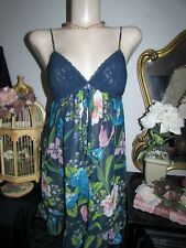 Ambrielle Tropical Nightie Nightgown Lingerie Babydoll Bra Top Lace Slip M Gown