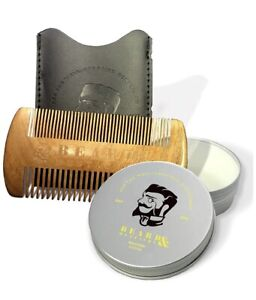 Beard & Mustache Sandalwood Dual-Sided Comb With Protective Sleeve Balm Care Kit