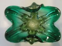 Green Thick Glass Mid Century Dish Bowl Curled Sides