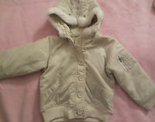 GAP Kids Toddler Bomber Jacket Quilted Hood Girl 4T Beige NWTs