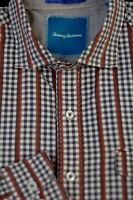 Tommy Bahama Men's Brown Navy White Check Cotton Casual Shirt L Large