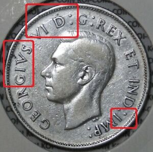 *ERROR*DIE CRACK*1942 Canada 50c silver coin