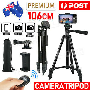 Professional Camera Tripod Stand Mount Remote + Phone Holder for iPhone Samsung