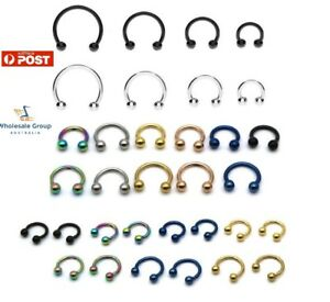 1PC HORSESHOE RING HOOP BALL BAR CARTILAGE SEPTUM HELIX TRAGUS EARRING PIERCING