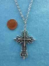 """Large Silver Tone Gothic Cross Pendant Necklace 30 """" Long Goth Gift # 38"""