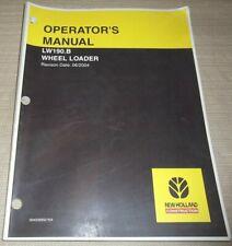 NEW HOLLAND LW190.B WHEEL LOADER OPERATOR OPERATION & MAINTENANCE MANUAL BOOK