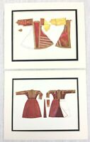1922 Pair of Antique Prints Costume Fashion Ethnic Albanian Dress Macedonia