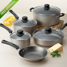 Cookware Set 9-Piece Pots And Pans Kitchen Non-Stick Cooking Stainless Champagne