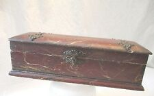 old BOX antique FAUX stenciled MARBLE antique VERY FANCY brass HARDWARE c1800's
