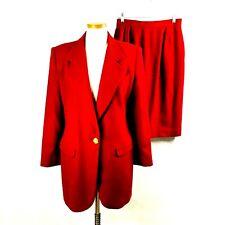 Oleg Cassini Womens Beautiful Dark Red 100% Wool Skirt Suit sz 8