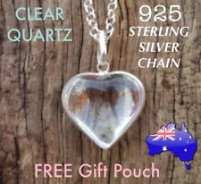Clear Quartz Crystal Natural Stone Heart Pendant 925 Sterling Silver Necklace