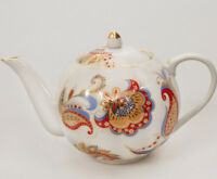 20 fl oz Brewing Teapot Dulyovo Porcelain Made in Russia w/ Paisley Decal