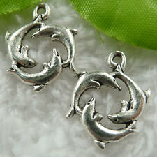 Free Ship 30 pcs  tibet silver dolphin charms 21x16mm #460