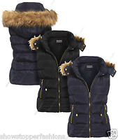Size 8 10 12 14 Womens GILET BODYWARMER Ladies JACKET PADDED Coat Waistcoat Fur