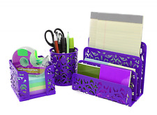 Mail Organizer For Desk Set Holder Office Purple Note Letter Pen Sorter Stack