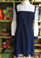 VINTAGE 60s 70s DRESS BISHOP SLEEVES HIGH NECK GLAM ROCK DRESS SIZE 12 VGC