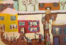 Vintage Naive art gouache painting cityscape figures