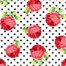 Cottage Shabby Chic Tea Room Rosy Dots Floral Fabric CX5939-EBON-D BTY