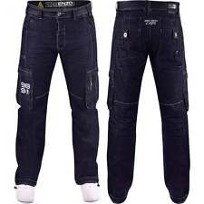 Enzo Mens Designer Enzo Combat Cotton Cargo Dark Denim Jeans Pants Pockets