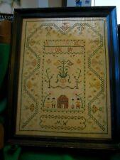 "Vintage Sampler Cross Stitch 26"" x 20"" House People Alphabet"