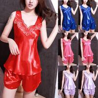 Women Satin Lingerie Nightdress Lace Robe Dress Babydoll Nightgown Sleepwear AB