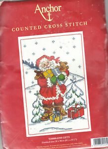 REDUCED! Anchor Santa's Gifts Christmas Counted Cross Stitch Kit 11 Count NEW!!