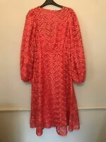 BNWT ZARA ORANGE EMBROIDERED MIDI DRESS WITH PUFF SLEEVES SIZE M-L