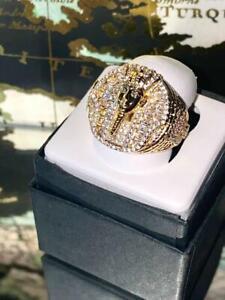 EGYPTIAN PHARAOH Men's Bling Ring Ice Out 2.5ct Iced Diamond 14k Gold Rings 6-10