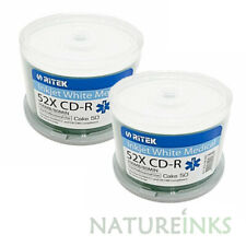 600 Ritek Inkjet White CD-R 52x Printable 700 MB Blank CD Discs Medical Line NHS