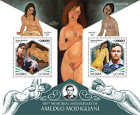 Sierra Leone Art Stamps 2020 MNH Amedeo Modigliani Nudes Nude Paintings 2v S/S