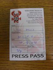 10/08/2004 BIGLIETTO: KIDDERMINSTER legate V Notts County [PRESS PASS]. bobfrank