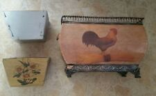 Vintage primitive wooden flower/shadow box shelf planters (a56)