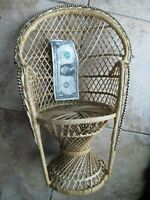 Fancy, Intricate Vintage Wicker Doll Chair, Well-Made, Miniature, Furniture,