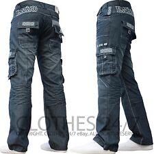 NEU Herren ENZO Designer Dunkel Cargo Combat Jeans Hose alle Hüfte & Leg Größen