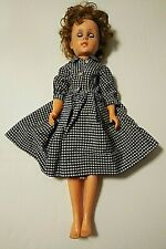 Vintage 1950s Doll Homemade Shirtwaist Dress Plastic Body Rubber Head 19-20 inch