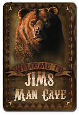 PERSONALIZED GRIZZLY BEAR MAN CAVE METAL GARAGE SIGN FATHERS DAY GIFT