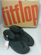 New Fitflop Fino Black Toe Post Thong Crystal Diamante Ladies Sandals Box Size 5