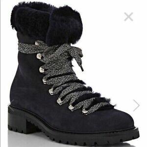 nib BARNEYS NYC garnet NAVY BLUE suede shearling fur hiking BOOTS $545 sz 37.5